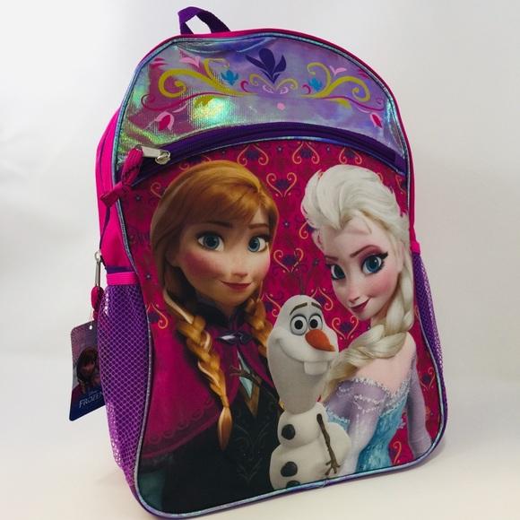Disney Frozen Backpack Princess Elsa Anna Olaf Girls Pink Purple NWT